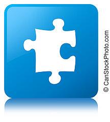 Puzzle icon cyan blue square button