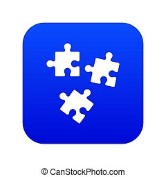 Puzzle icon digital blue