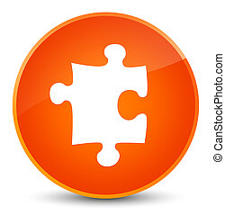 Puzzle icon elegant orange round button