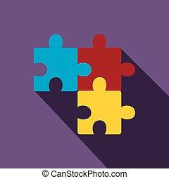 Puzzle icon, flat style