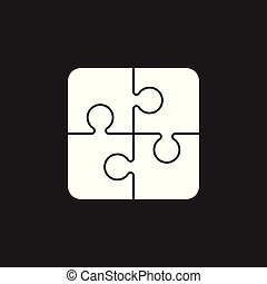 Puzzle icon. Flat vector illustration. Puzzle game sign symbol with shadow on black background.