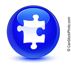 Puzzle icon glassy blue round button