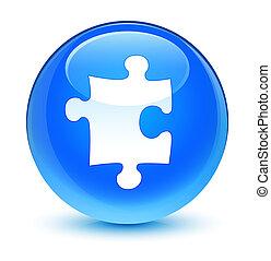 Puzzle icon glassy cyan blue round button