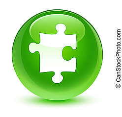 Puzzle icon glassy green round button