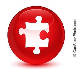 Puzzle icon glassy red round button