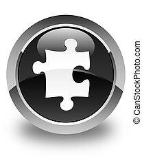 Puzzle icon glossy black round button