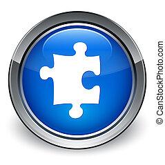 Puzzle icon glossy blue button