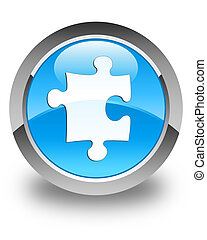 Puzzle icon glossy cyan blue round button