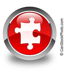 Puzzle icon glossy red round button