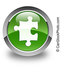 Puzzle icon glossy soft green round button