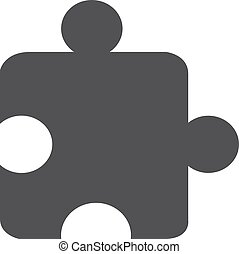 Puzzle icon in black on a white background. Vector illustration