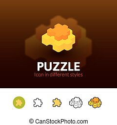 Puzzle icon in different style