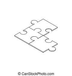 Puzzle icon, isometric 3d style
