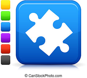 puzzle icon on square internet button - Original vector icon...
