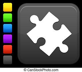 puzzle icon on square internet button