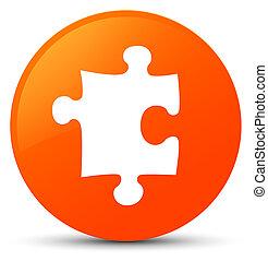 Puzzle icon orange round button