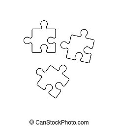 Puzzle icon, outline style