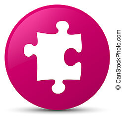 Puzzle icon pink round button