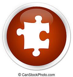Puzzle icon premium brown round button