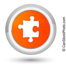 Puzzle icon prime orange round button