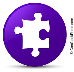 Puzzle icon purple round button