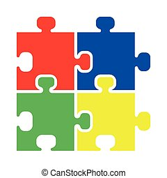 Puzzle icon Red blue green yellow