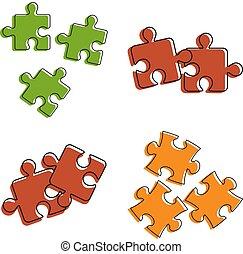 Puzzle icon set, color outline style