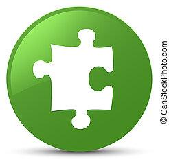 Puzzle icon soft green round button
