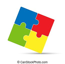 Puzzle icon. Solid colored filled outline. Flat design.