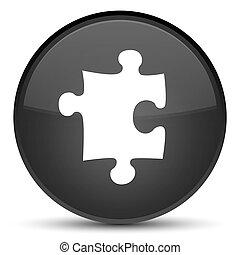 Puzzle icon special black round button