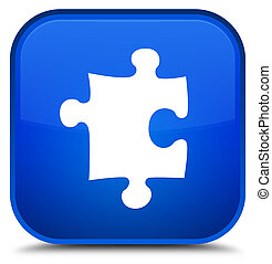 Puzzle icon special blue square button