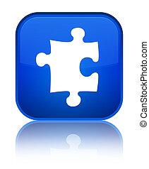 Puzzle icon special blue square button