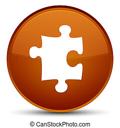Puzzle icon special brown round button