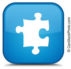 Puzzle icon special cyan blue square button