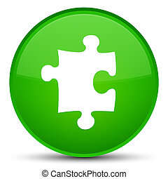 Puzzle icon special green round button