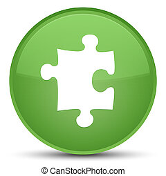 Puzzle icon special soft green round button