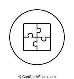 Puzzle. Icon. Vector. Line