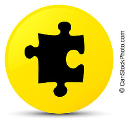 Puzzle icon yellow round button
