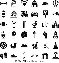 Puzzle icons set, simple style