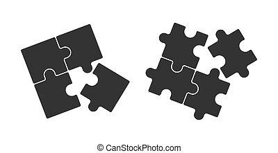 Puzzle icons set. Solid filled outline. Flat design.