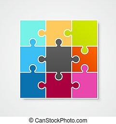 puzzle, illustration, vecteur, concevoir élément, cadre, gabarit