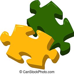Puzzle, illustration, vector on white background.