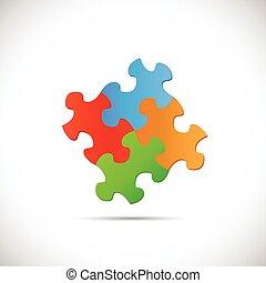 puzzle, illustrazione, pezzi