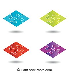 Puzzle in different colors- logo