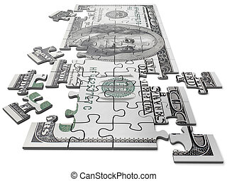 Puzzle in the form of currency of the USA of dollar in cost...