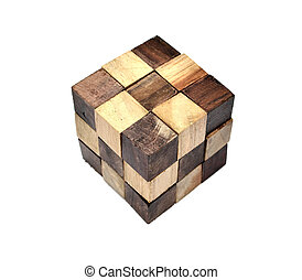 Puzzle in the form of wooden blocks on a white background