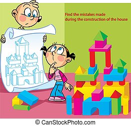 Puzzle in which children build a house - In the vector ...