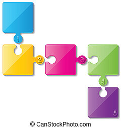 five colorful puzzle infographic templates.