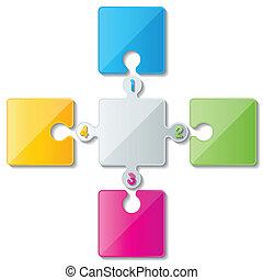 puzzle infoghaphics - four colorful puzzle infographic...