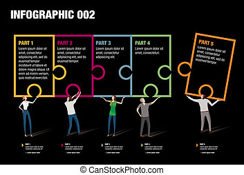 Puzzle Infographic - Infographic illustrating the pieces of...